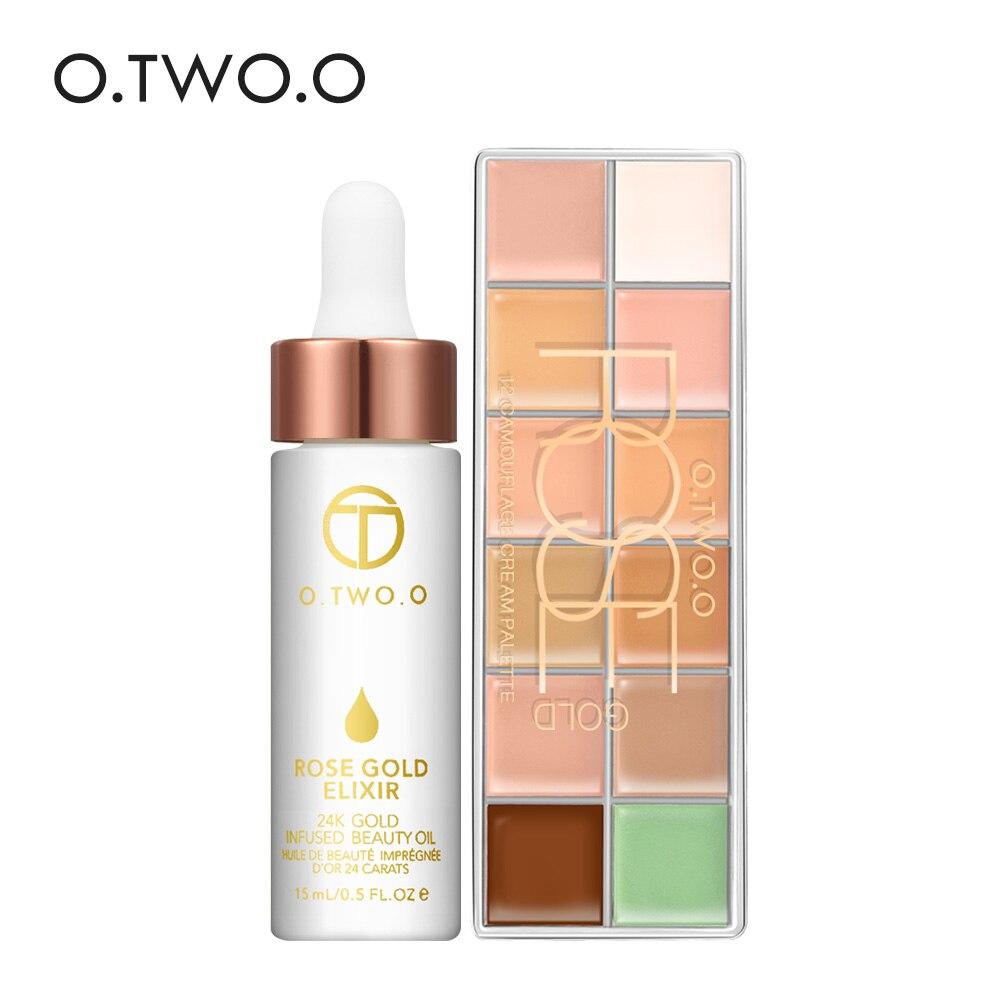O.TWO.O 2pcs/set 12 Colors Concealer Palette +24k Rose Gold Elixir Skin Make Up Oil Makeup Set full cover For all skin type