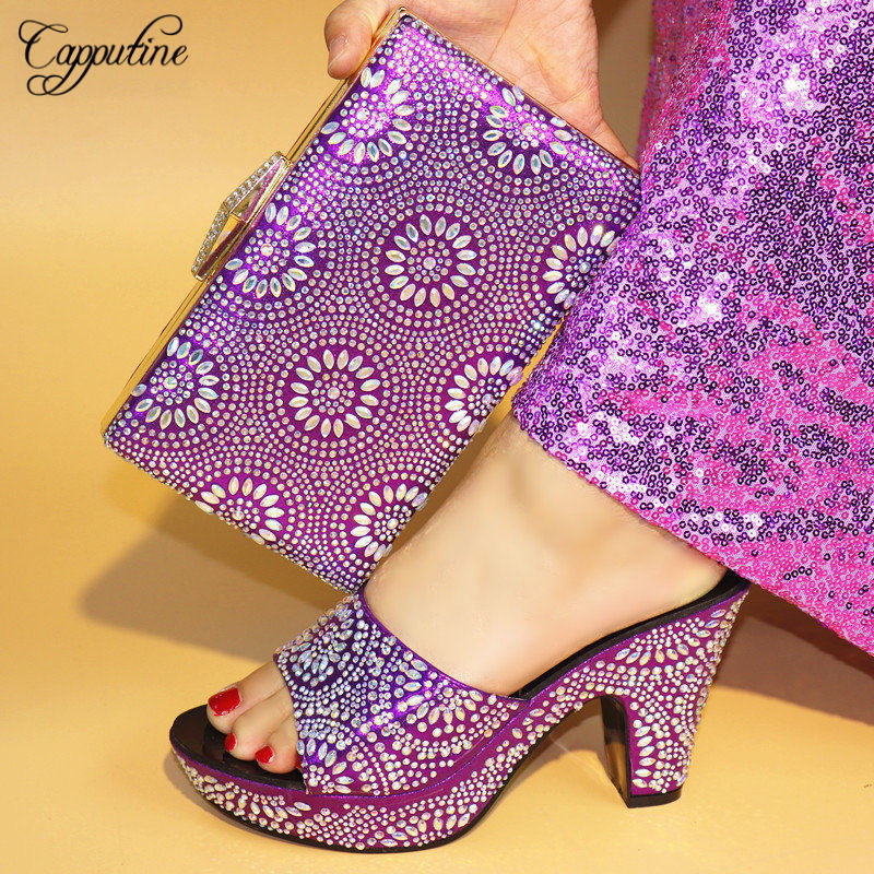 Capputine Purple Color New Arrival High Quality Rhinestone Shoes And Bags African Style High Heels Shoes And Bag Set For Party capputine new arrival rhinestone slipper shoes and matching bag set africa style high heels shoes and bag set evening party
