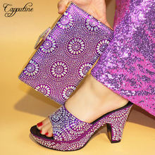 Capputine Purple Color New Arrival High Quality Rhinestone Shoes And Bags African Style High Heels Shoes