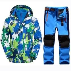 Зимняя теплая водонепроницаемая одежда для маленьких мальчиков и девочек; комплекты одежды для альпинизма; Детское пальто и штаны; Верхняя ...