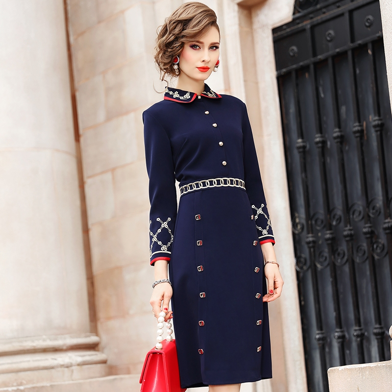 2019 new High street Lady Embroidery dress autumn Full Sleeve Women Party Dress Plus Size Vintage