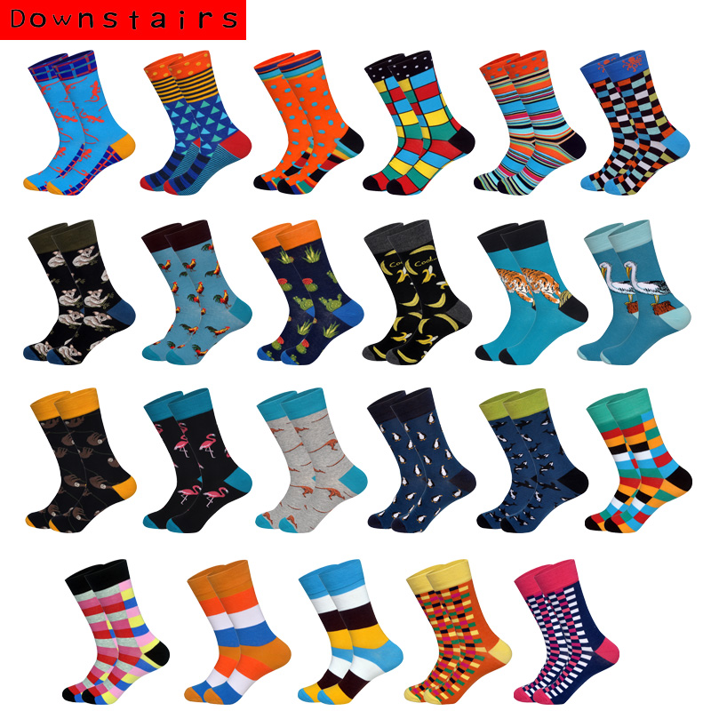2019 Hot Hip Hop Men Socks Lattice Triangle Koala Creative Design Harajuku British Style Breathable Happy Socks Crew Heels