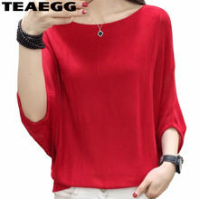 TEAEGG Elegant Blusas Mujer De Moda 2018 Knitted Womens Tops And Blouses Blusa Feminina Batwing Sleeve Red Summer Tops AL1177
