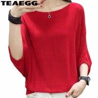 TEAEGG Elegant Blusas Mujer De Moda 2019 Knitted Womens Tops And Blouses Blusa Feminina Batwing Sleeve Red Summer Tops AL1177