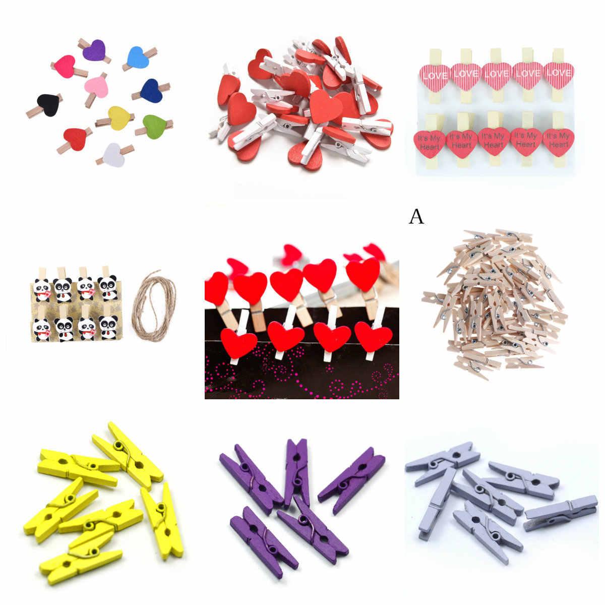 10-50 sztuk/paczka Home dekoracje ślubne Mini serce miłość drewniane ubrania papier fotograficzny Peg Pin Clothespin Craft pocztówka klipy
