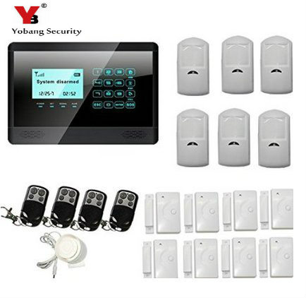 YobangSecurity Burglar Intruder Alarm System Auto Dialer Wireless GSM SMS Touch Keyboard Home Security Alarm PIR Motion Sensor yobangsecurity touch keypad wireless gsm sms smart home security burglar alarm system smoke sensor voice pir motion door window