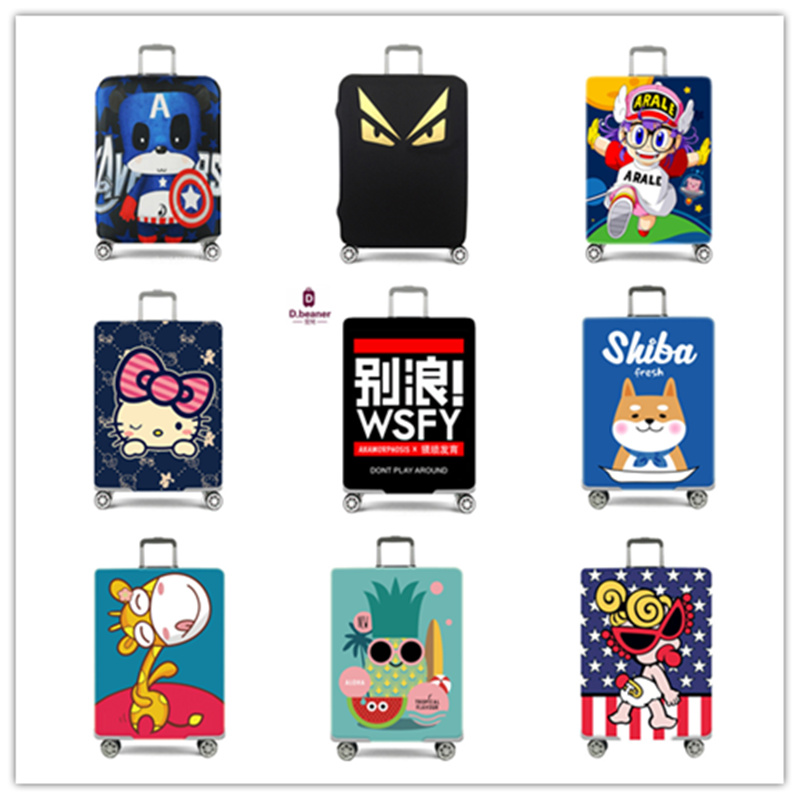 High Quality Trunk Protector Unisex Trolley Case Travel Case Scratch-proof Dust Cover Thick Stretch Suitcase Set Cartoon Print
