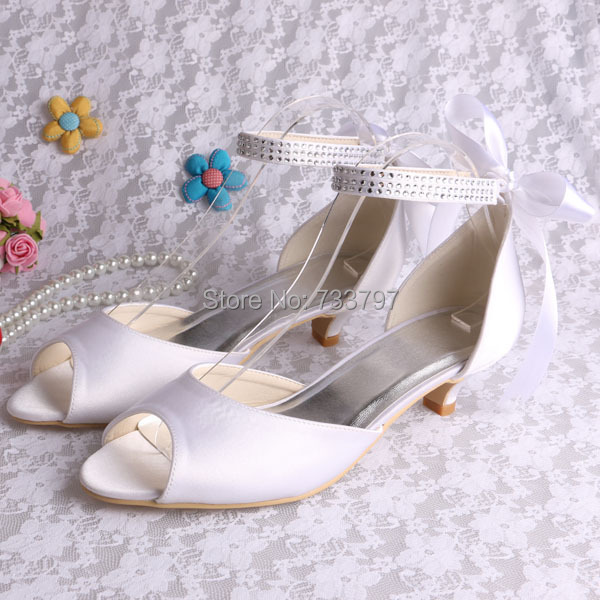 (20 Colors)Custom Handmade Large Size Female Low Heel Bridal Shoes Ribbon in Back