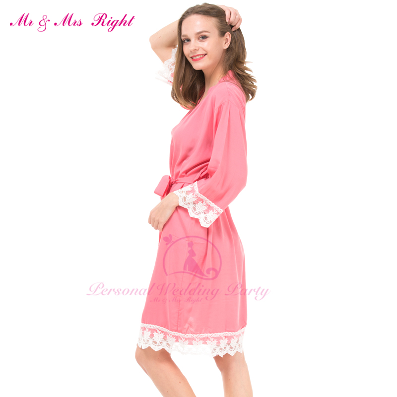 Pink Cotton Robe Lace Robe Brodesmaid Robe For Wedding Party Set Cute StyLe Pink Women Nightgown Cotton Solid Robe Bridesmaid LP