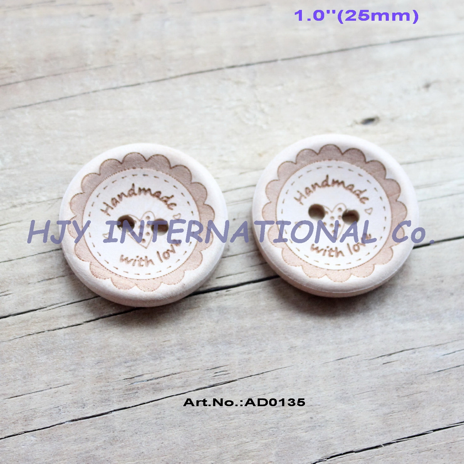 """Scrapbook 2 Holes Wooden Buttons /""""Handmade with Love/"""" 15MM 20MM 25MM Sewing"""