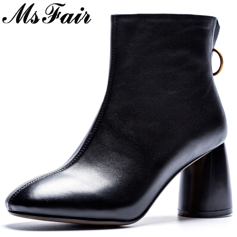 все цены на MsFair Round Toe High Heel Women Boots Genuine Leather Zipper Ankle Boots Women Shoes Winter Elegant Black Boots Shoes Woman онлайн