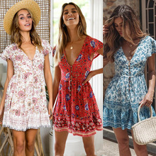 Fashion Women Printing Mini Dresses Short Sleeve Ladies Deep V-neck Ruffles Short Dress Girls Floral Print Sexy Dress for Summer fashionable jewel neck figure floral print short sleeve dress for women