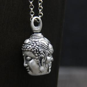 Image 2 - Handcrafted 100% 999 Silver Buddha Head Pendant Vintage Pure Silver Buddha Statue Amulet Pendant Buddha & Devil Man Pendant