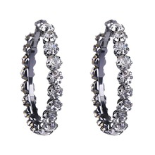 Bright Black Luxury Crystal Big Hoop Earrings for Women Shiny Crystal Big Circle Earrings Wedding Party Earings Fashion Jewelry