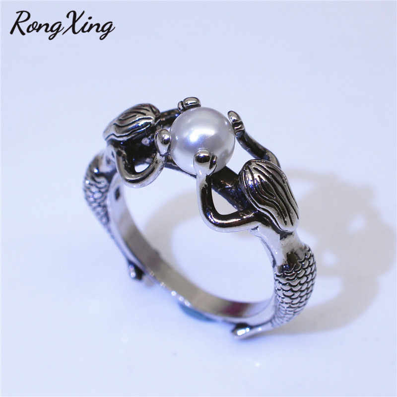RongXing Vintage 925 Silver Filled White Pearl Mermaid Rings for Women Antique Boho Jewelry Fashion Personality Birthstone Ring