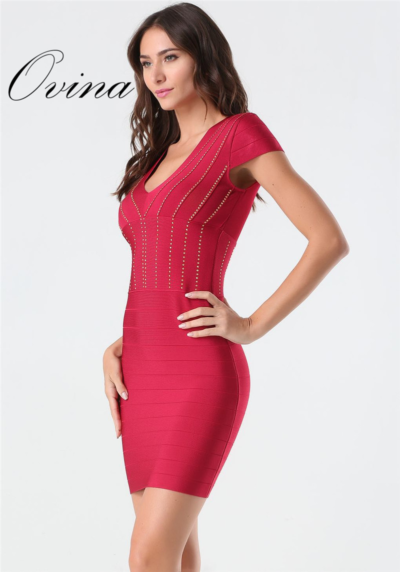 Red Sexy V Neck Cap Sleeve Diamond Stamping Mini Bodycon Bandage Dress Night Party Dress Meticulous Dyeing Processes