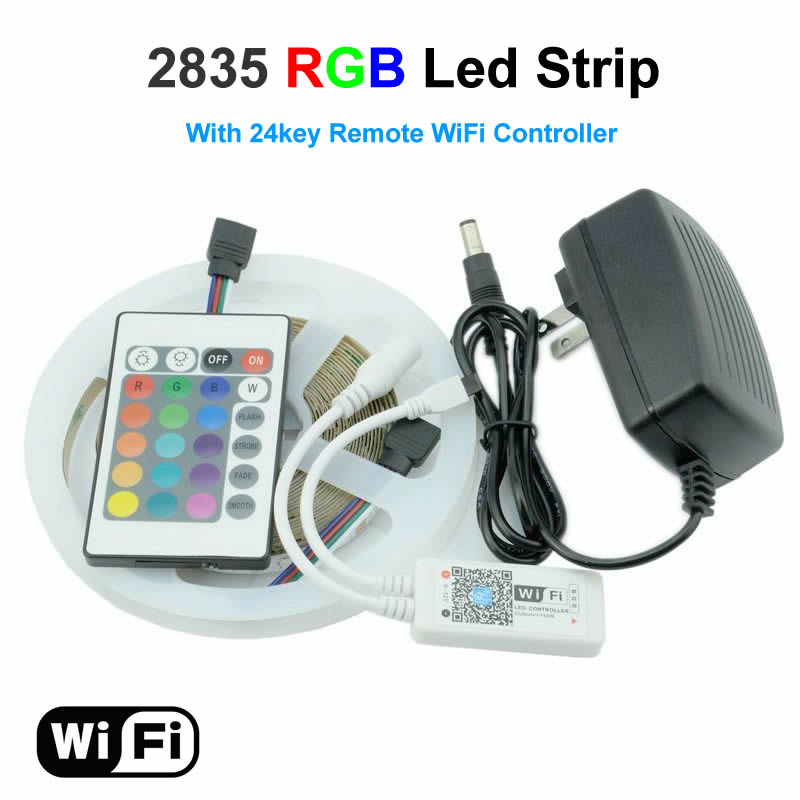 RGB LED Strip 5M 300Led 2835 SMD 24Key IR Remote WiFi Controller 12V Power Adapter Flexible Light Led Tape Home Decoration Lamps