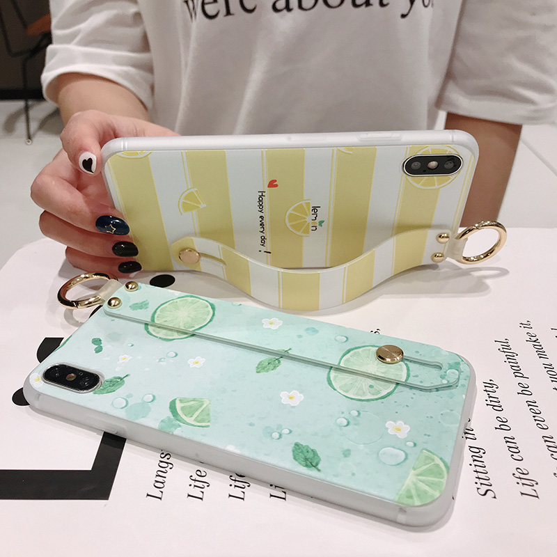 SoCouple Wrist Strap Phone Case For iphone Xs max Case For iphone X Xs XR 6 6S 7 8 plus Fruit Lemon Pattern Soft TPU Case Cover (3)