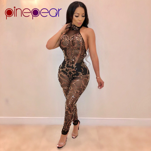 ef6f9b3cc77 PinePear New 2019 High Quality Gold Sequin Sheer Mesh Jumpsuit Women Sexy  See Through Sleeveless Backless Bodycon Club Rompers