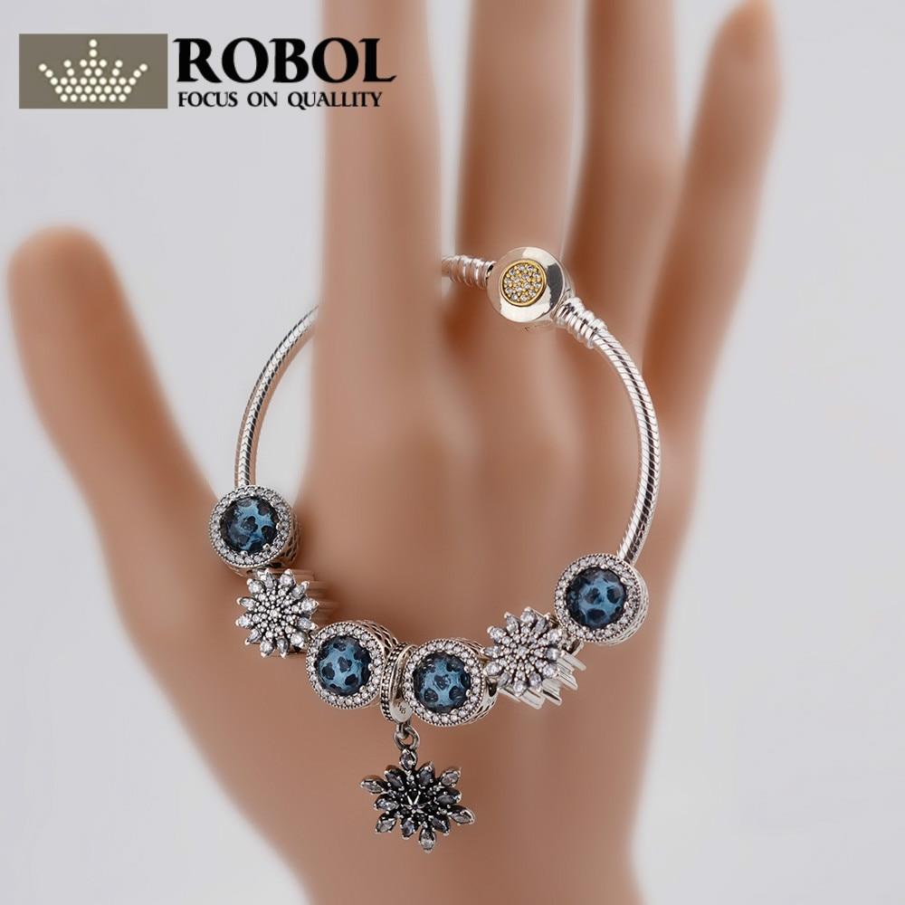 ROBOL Fashion Silver Women Friendship Charm Bracelets Bangles Snowflake Pendants Charms Bead fit European Pan Bracelets