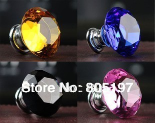 K9 Crystal kitchen cabinet knobs  4 colours option  amber/purple/transparent/Pink  20mm