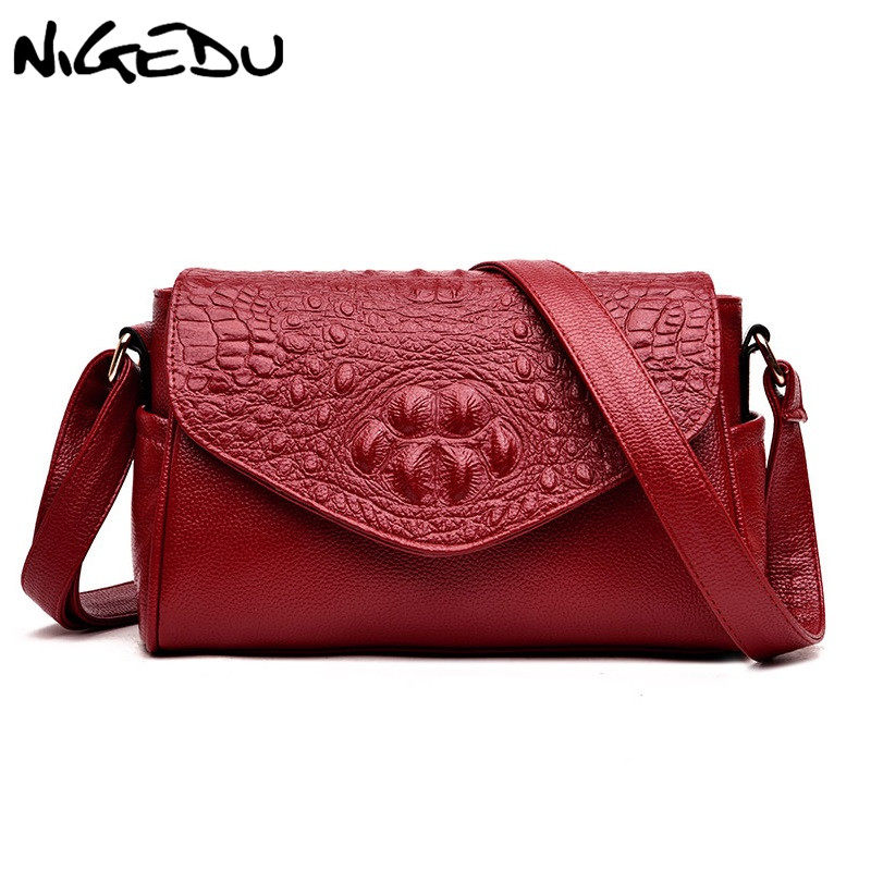 NIGEDU Crocodile Women Crossbody Bags Flap Design bag Brand Luxury Alligator Handbags Designer female Shoulder messenger Bags