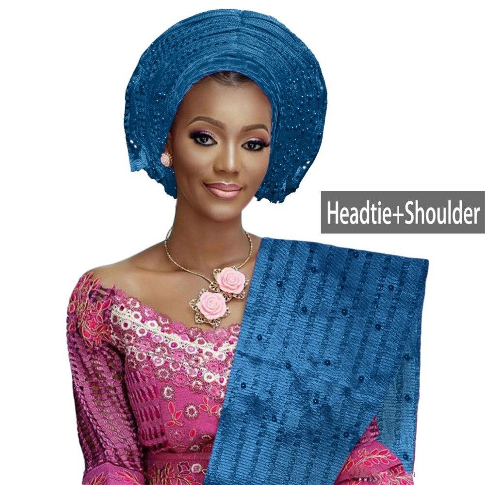 Różne kolory afryki auto gele headtie dla kobiet aso oke nakrycia głowy zroszony afryki gele z na ramię ładne jakości B314 w Materiał od Dom i ogród na  Grupa 2