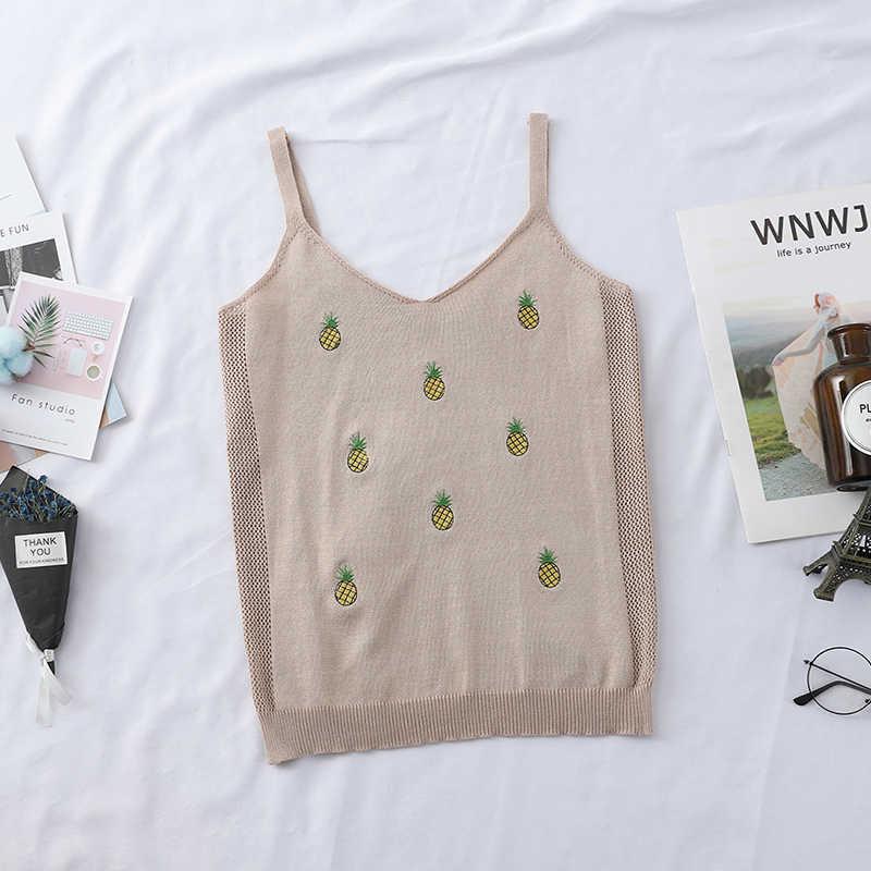 HELIAR Ananas Stickerei V-ausschnitt Tank Tops Camis Gestrickte Kurze Dünne Elastische Crop Tops Sommer Mode frauen Kleidung Camis