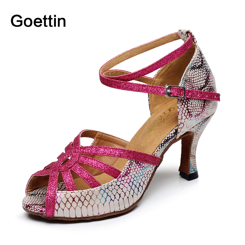 2017 New Brand Geottin High Heel Open Toe Women Latin Shoes Dance Shoes Woman