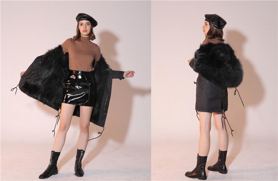 2019 Real Fur Coat Winter Jacket Women Long Parka Waterproof Big Natural Raccoon Fur Collar Hood Thick Warm Real Fox Fur Liner 47