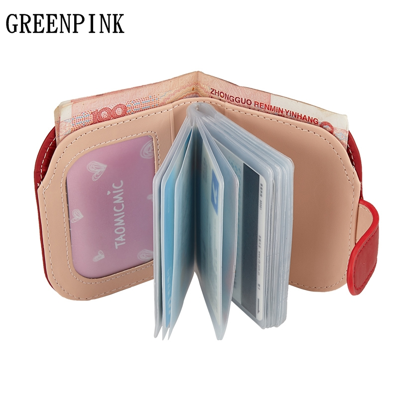 GREENPINK New Mini Small Wallets Female Credit Card Holder Slim Wallet Women Purse Fashion Quality PU Leather Clip Wallet Travel etya bank credit card holder card cover