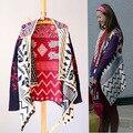 2017 Otoño Estilo de La Moda Étnica Joyería Geomentric Irregular Suéter de La Vendimia de Punto Cardigans Suéter de la Capa envío gratis