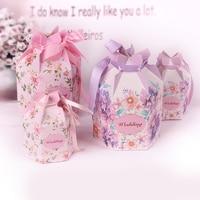 50pcs Six Angle Candy Box Creative European Wedding Candy Box Violet Hydrangea FLOWER Pink Tea Box