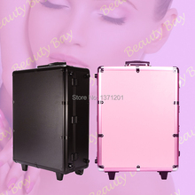 Professional black and pink aluminium trolley makeup case with lights bulbs stands and mirror, makeup studio