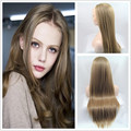 Beautiful women hair natural brown hair wig long silky straight hair heat resistant synthetic hair lace front wig free shipping
