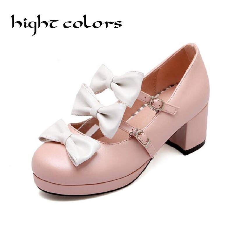 Ladies Cute Thick Heel Pumps Round Toe Mary Jane Shoes With Bow Lolita Princess Shoes Large Size Black Beige Pink Blue Purple