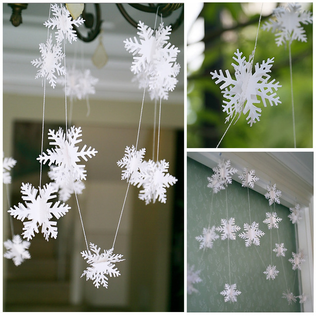 3m garland handmade paper snowflake charm flag flag bunting baby shower birthday party banner christmas decoration - Handmade Paper Christmas Decorations
