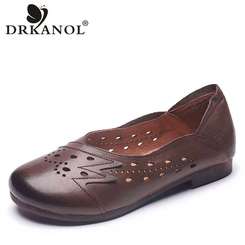 DRKANOL Handmade Genuine Leather Summer Shoes Women Loafers Slip On Casual Flat Shoes Breathable Round Toe Driving Shoes H9860DRKANOL Handmade Genuine Leather Summer Shoes Women Loafers Slip On Casual Flat Shoes Breathable Round Toe Driving Shoes H9860
