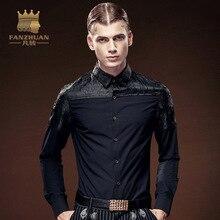 FANZHUAN 2017 New Asian Size M-5XL Men's Shirt Black Slim Fashion Casual Brand Clothing Long Sleeve Embroidery Top Free Shipping