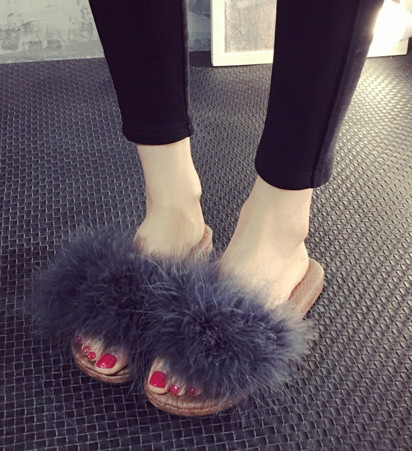 17 sweet candy color summer women real natural feather turkey fur fuzzy slippers slides mules women open toe sandals flat shoes