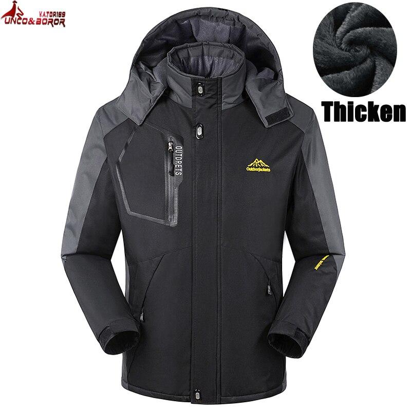 UNCO&BOROR Winter jacket men women thick jacket coat for men Velvet Windproof male jacket outwear Waterproof coat size M~7XL,8XL