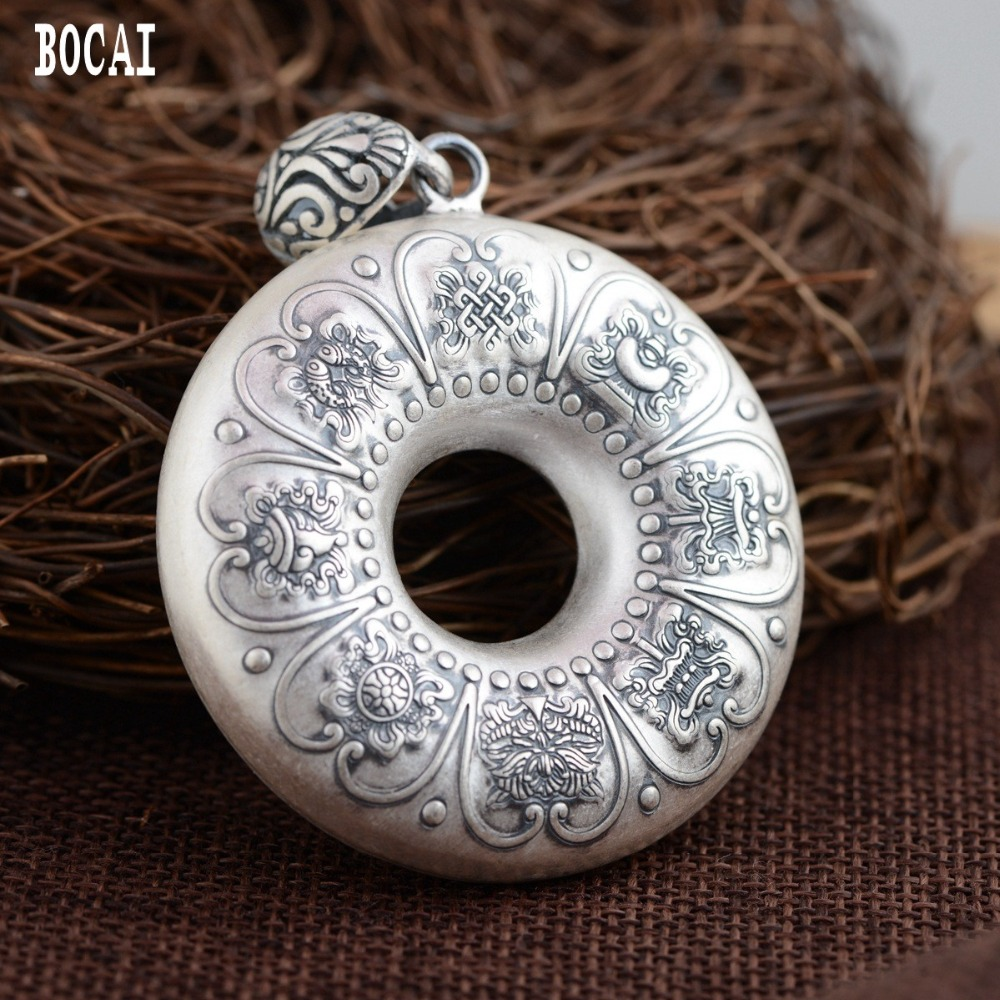 Real S990 solid sterling silver auspicious eight treasure pendant female models heart antique style Buddhism Thai silver peReal S990 solid sterling silver auspicious eight treasure pendant female models heart antique style Buddhism Thai silver pe