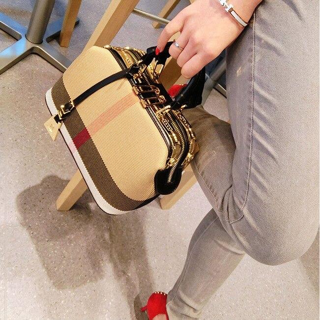 Dames sac à main 2018 femmes toile cuir sacs à main sacs à main Plaid docteur sac de haute qualité grande capacité femme sac à bandoulière noir - 2