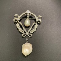 vintage natural fresh water pearl brooch pendant double use baroque royal court copper with cubic zircon fashion women jewelry