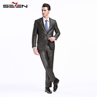 Seven7 הקלאסי גריי חתן Mens חליפות גברים לחתונה מכנסיים מעיל 2017 זכר טרייל Slim Fit טוקסידו לבוש הרשמי 703C1293