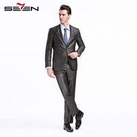 Seven7 Classic Grey Männer Anzug Für Hochzeit Bräutigam Herren Anzüge Slim Fit Smoking Kleid Formaler Männlicher Blazer Jacke Hosen 2017 703C1293