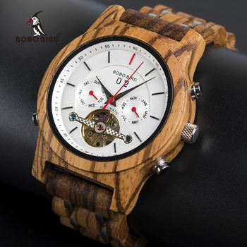 Bobo pássaro relógios mecânicos masculino marca superior relógio de madeira luxo montre homme automatique W-Q27