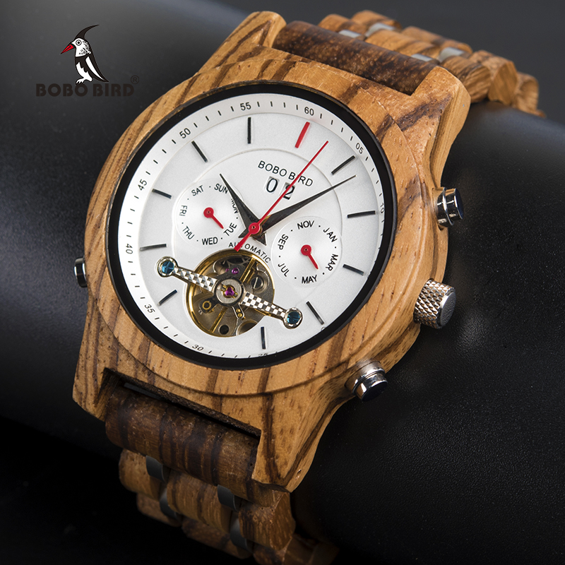 BOBO BIRD Mechanical Watches Men Top Brand Luxury Wooden Watch montre homme automatique W-Q27