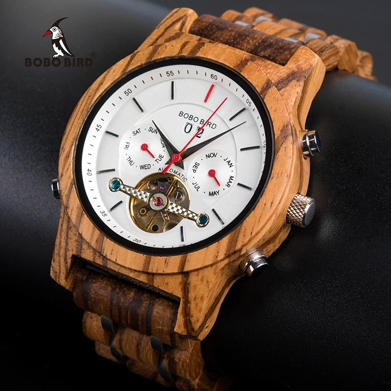 BOBO PÁSSARO Mecânico Relógios Homens Top Marca de Luxo Relógio De Madeira homme montre automatique W-Q27