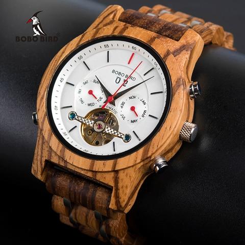 Relógio de Madeira Bobo Pássaro Relógios Mecânicos Masculino Marca Superior Luxo Montre Homme Automatique W-q27